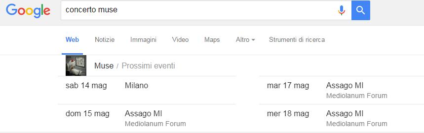 Eventi, viene indicata data e luogo